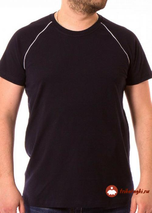 Черная однотонная мужская футболка