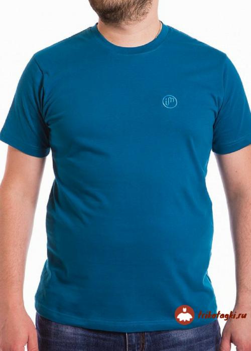 Мужская синяя однотонная футболка