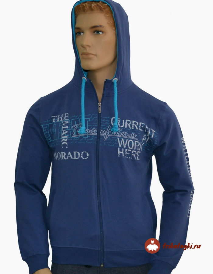 Синяя мужская кофта с капюшоном