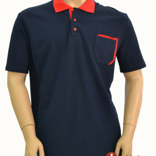 Мужская футболка поло черная с красной отделкой