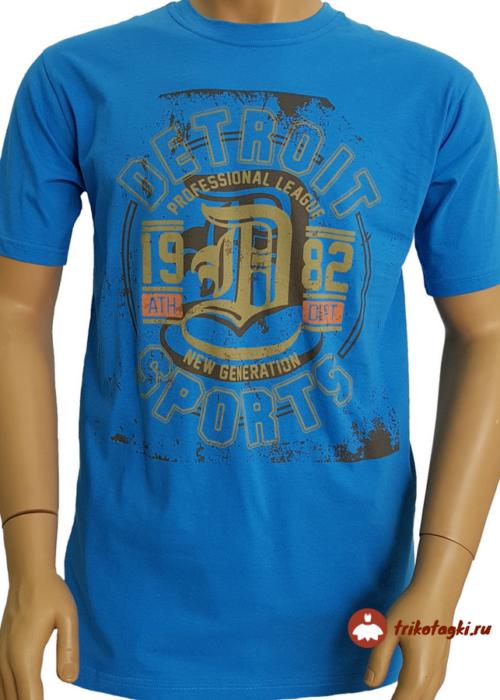 Синяя мужская футболка с принтом