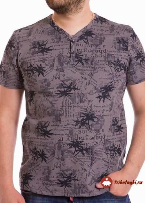 Мужская футболка цвета какао с пальмами