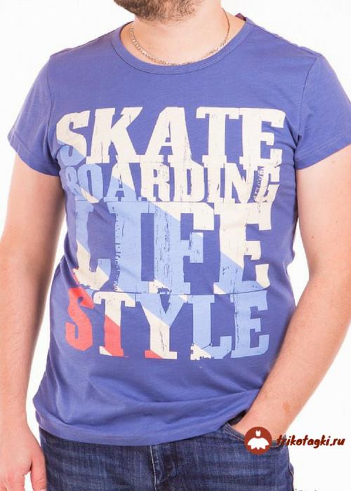 Мужская фиолетовая футболка с надписью