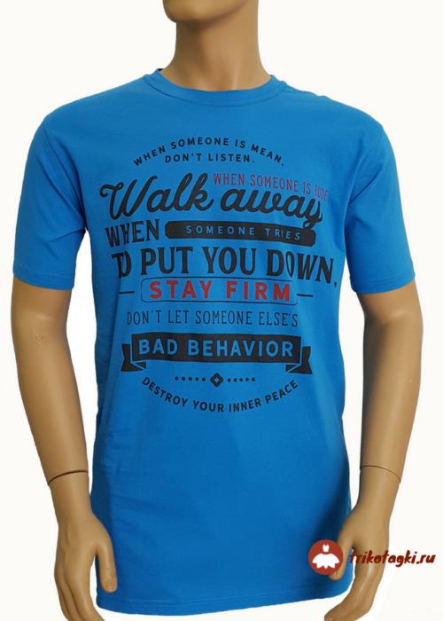 Голубая мужская футболка с принтом