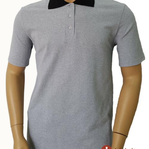 Мужская футболка поло серая с черным воротником