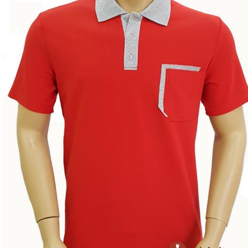 Мужская футболка поло красная с серой отделкой