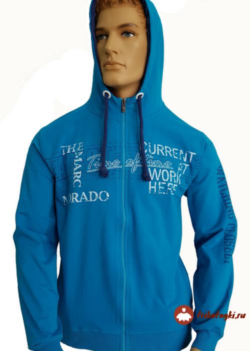 Синяя мужская кофта на молнии с капюшоном