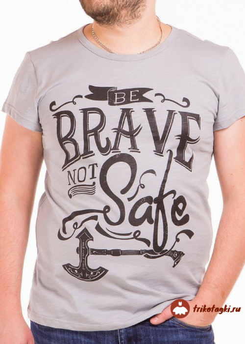 Бежевая мужская футболка с надписью