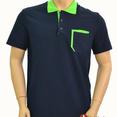 Мужская футболка поло синяя с зеленой отделкой