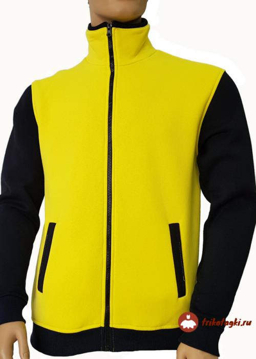 Мужская желтая кофта с черными рукавами