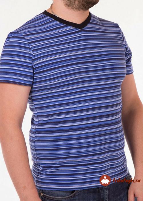 Футболка мужская в мелкую синюю полоску