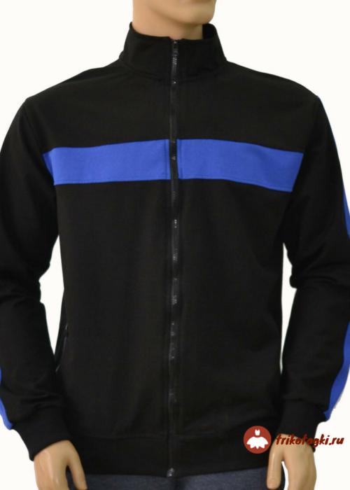 Кофта черная мужская с синей вставкой на груди