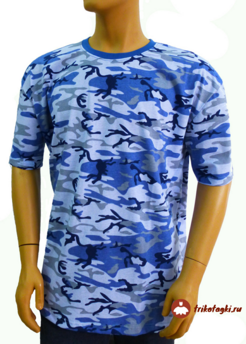 Камуфлированная футболка синяя мужская