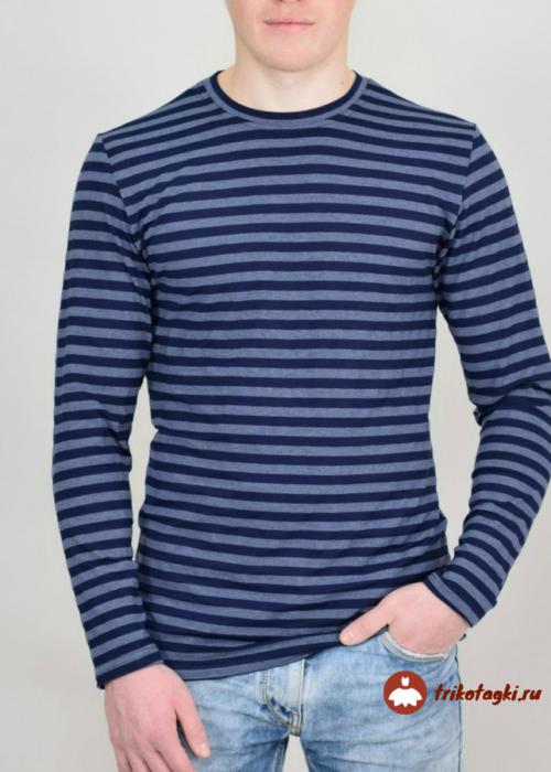 Лонгслив мужской в синюю полоску