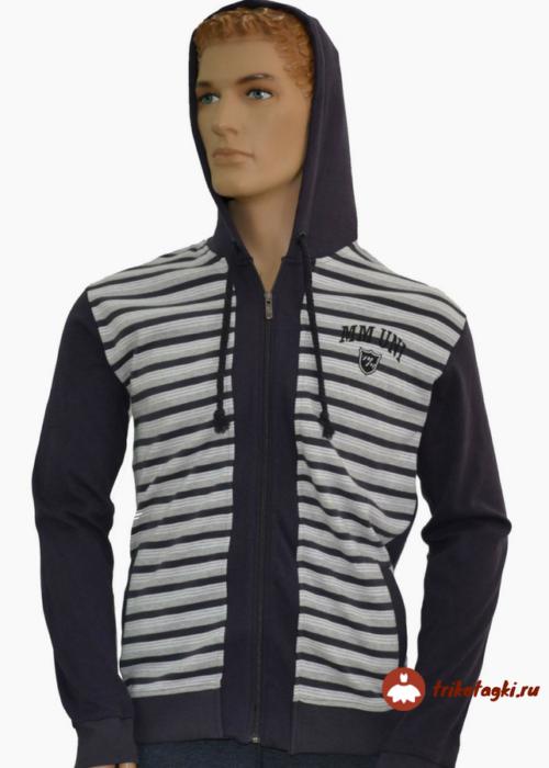 Кофта мужская с капюшоном в полоску черная