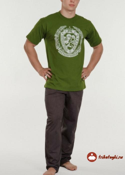 Мужская футболка зеленая с принтом типа герб