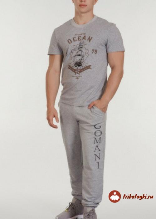 Комплект мужской серый с футболкой