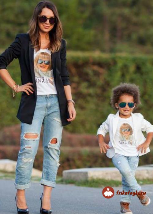 Мама с дочкой в стиле рок