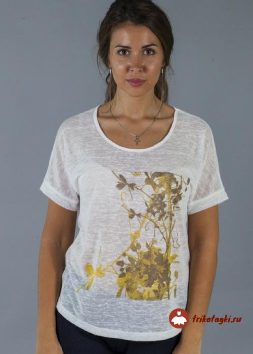 Блузка белая с природным принтом