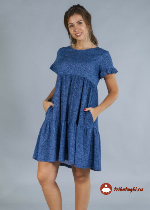 Синее женское летнее платье