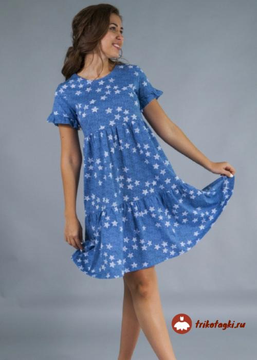 Платье летнее голубое в горох