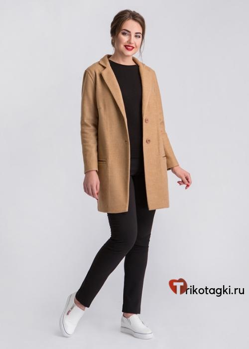 Пальто коричневое укороченное
