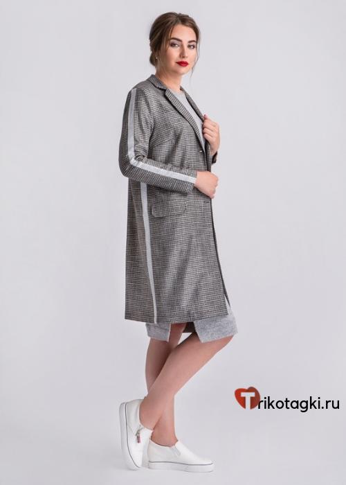 Кардиган женский серый с лампасами