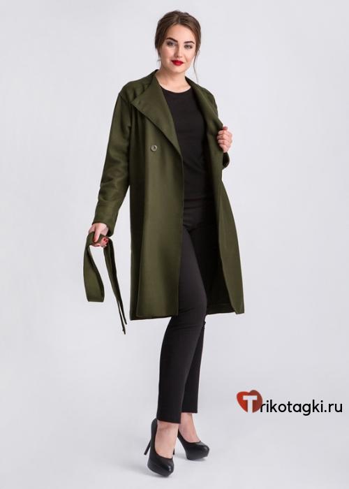 Пальто черное укороченное с поясом