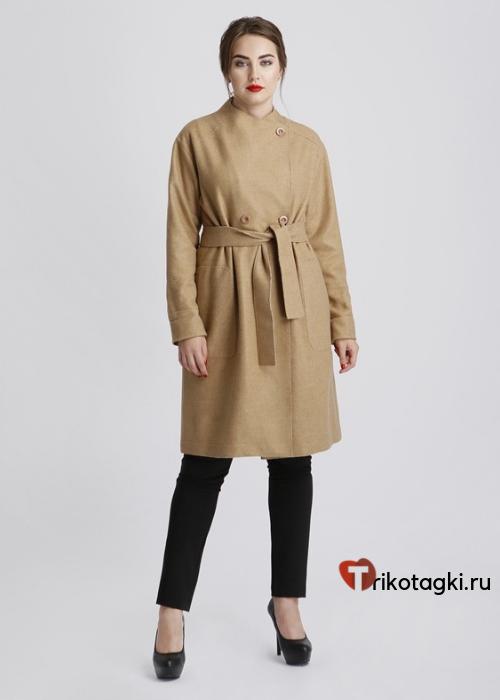 Пальто коричневое укороченное с поясом