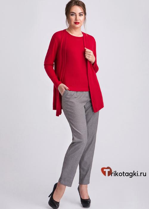 Комплект женский из футболки и кардигана красный