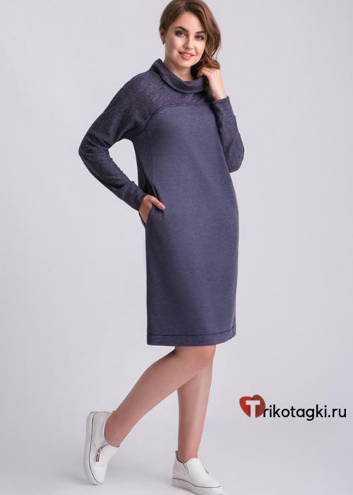 Платье синее женское свободное