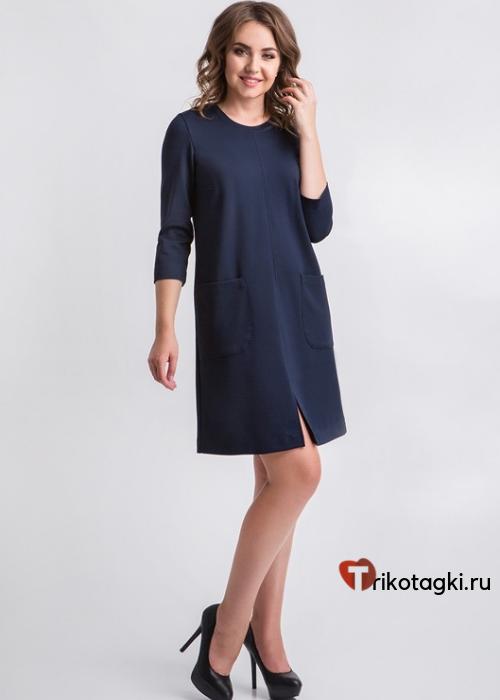 Платье женское классическое синее