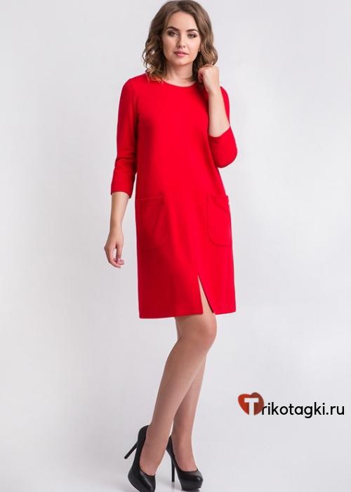 Платье женское классическое красное