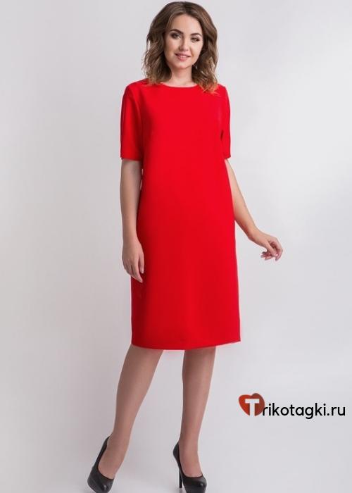 Классическое красное платье до колена