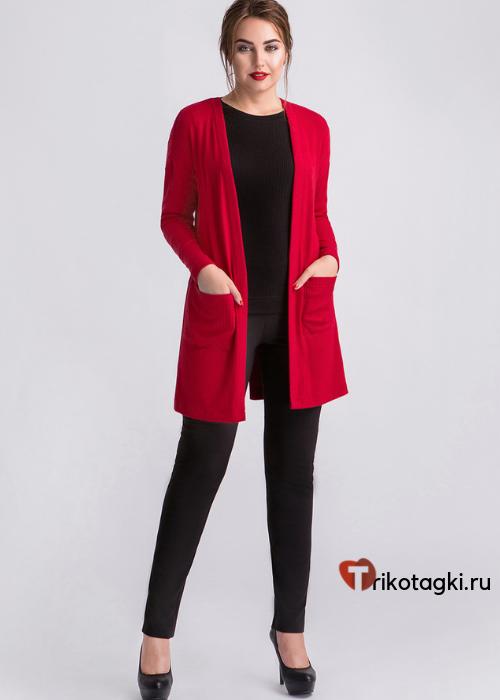 Красный женский кардиган с карманами