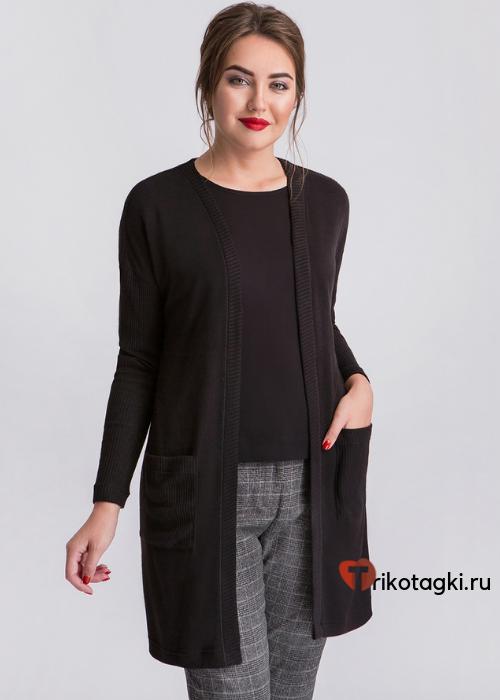 Черный женский кардиган с карманами