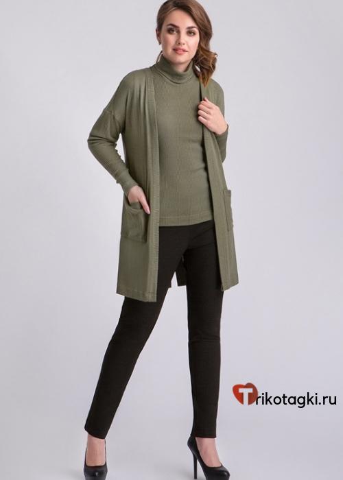 Зеленый женский кардиган с карманами
