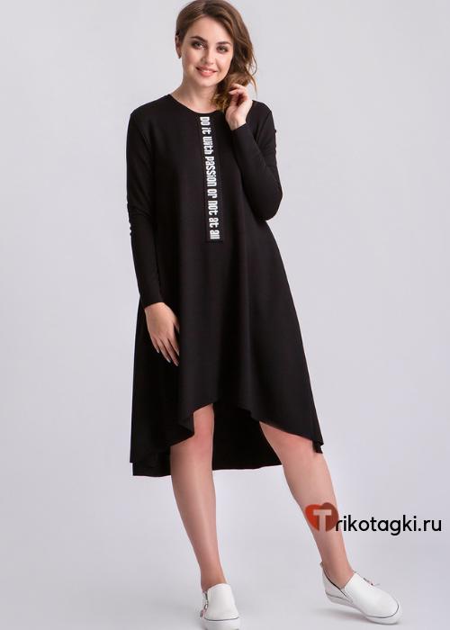 Платье черное с заниженным подолом сзади