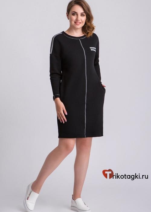 Черное платье до колена с карманами
