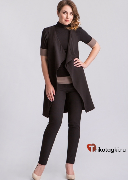 Черный длинный женский жилет с лонгсливом с коричневой отделкой
