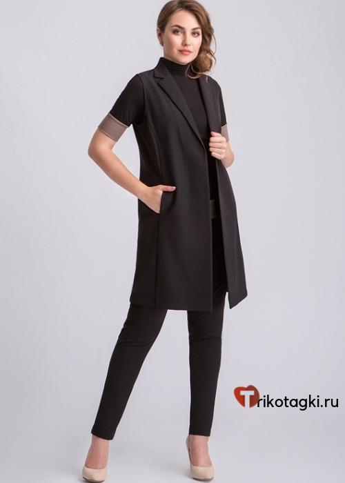 Черный длинный женский жилет с карманами