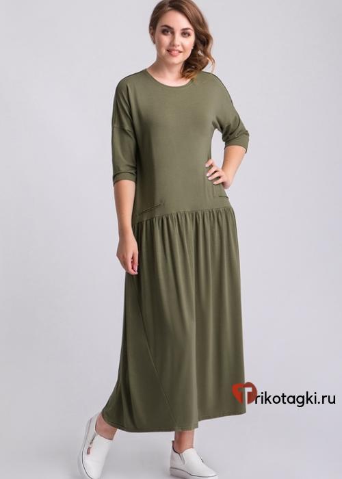 Платье длинное зеленое с рукавом три четверти