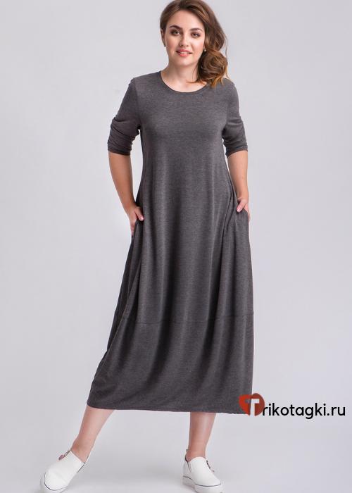 Платье длинное графит с рукавом три четверти