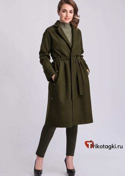 Пальто женское зеленое