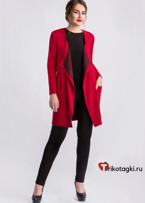 Длинный женский кардиган красный