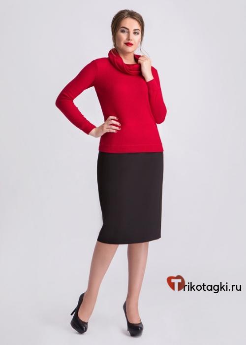 Женский бадлон с шарфом - кольцом красного цвета