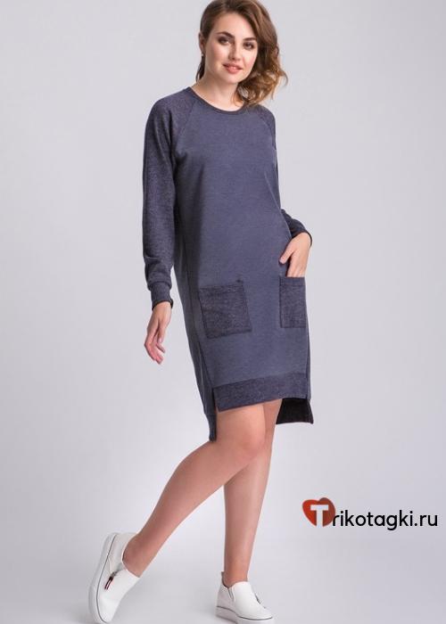 Синее платье с накладными карманами