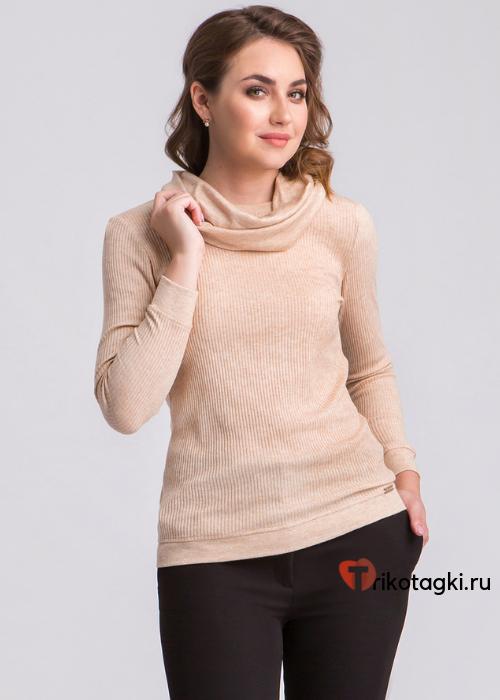 Женский бадлон с шарфом - кольцом бежевого цвета