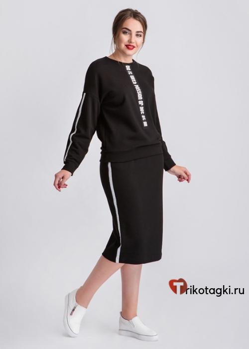 Черная юбка с лампасами