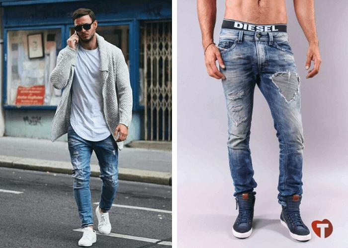 Мужчины в джинсах с потертостями 2018/2019